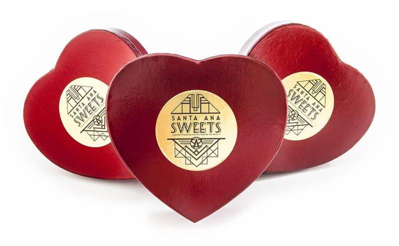 Heart-Shaped box of chocolate caramels | Santa Ana Sweets