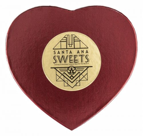 12 count chocolate covered caramels in a Heart-Shaped box | Santa Ana Sweets